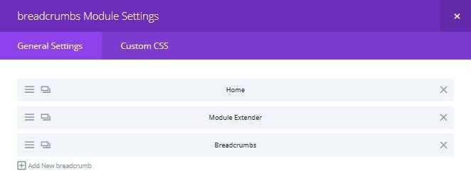 Editing the breadcrumbs module in the page builder interface
