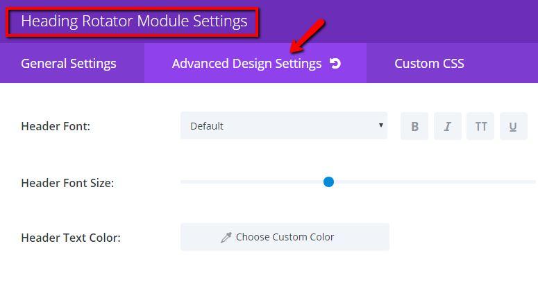 Heading Rotator Edit Fixed Test Settings