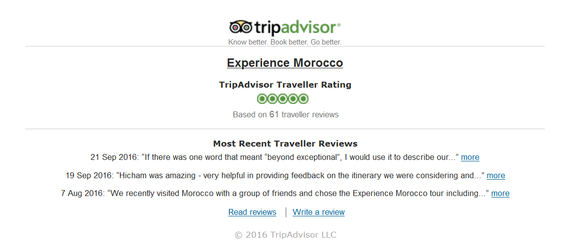 tripadvisor reviews module example on experience morocco
