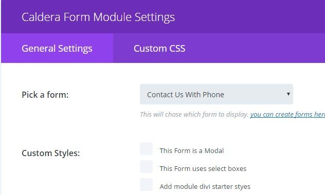 edit caldera forms module for divi