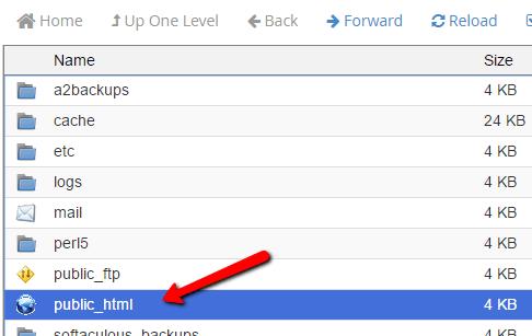 open public_html folder