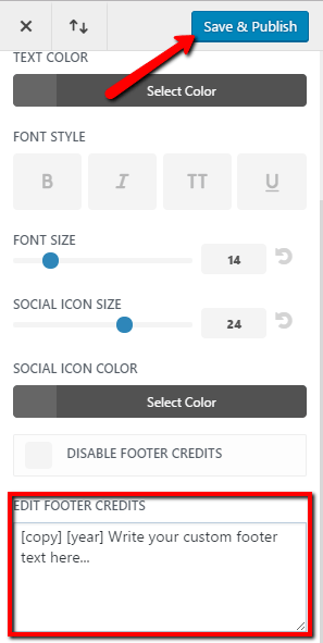 edit footer credits with shortcodes