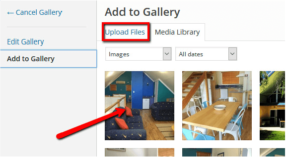 Select from or upload files to the media library within gallery