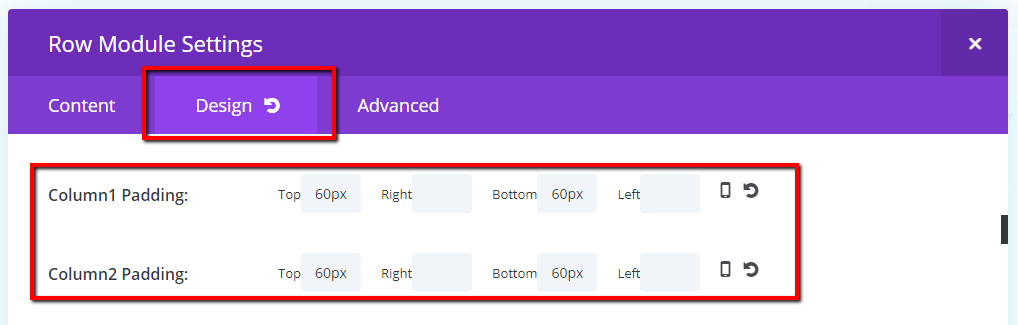 design tab column padding same as default or how you want it to look on this page