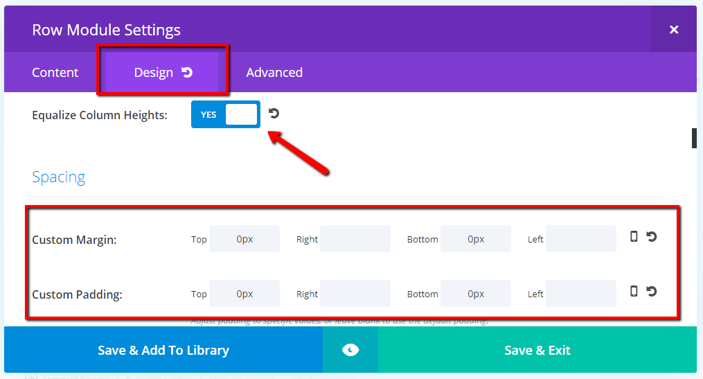 design tab equalise column height and set top and bottom padding and margin to zero