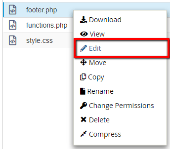 edit footer.php file
