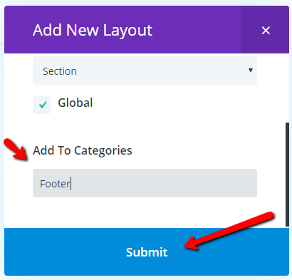 optional category and submit