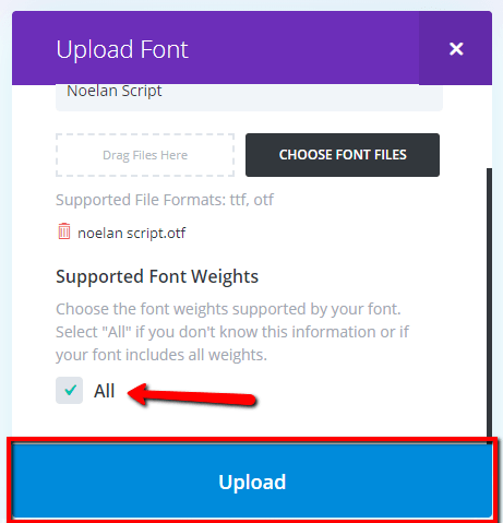 select all or some font weights then upload