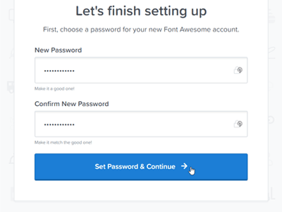set password for Font Awesome account