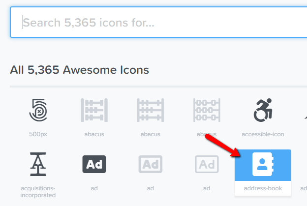 click on desired font awesome icon to select