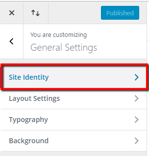 divi theme customizer general settings site identity